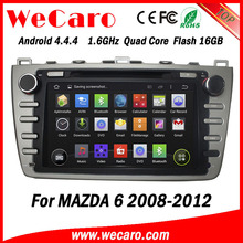 Wecaro in dash 2 din touch screen Android 4.4.4 car gps navigation multimedia system for mazda 6 car radio cd mp3 usb 2008 -2012