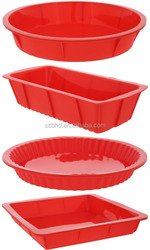 Silicone Bake Set Bakeware Set - Round Pie, Round Cake, Square Cake, and Rectangle Bread Pans - Red