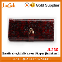 Designer fashion old ladies cowhide clutch with magnetic closure