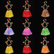 Hawaiian hula Skirt For Hawaiian Party Hawaiian Luau Hula Grass Skirt Multi Color Dress 40CM HKC-0004