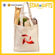 Reusable Cotton Canvas Grocery Bags with Bottle Sleeves, Shoulder Straps and Short Carry Handles