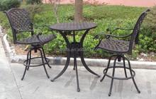 "CAST ALUMINUM 30"" ROUND PEDESTAL TABLE 3PC PUB BISTRO SET"