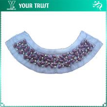 Violet Rectangle 5MM Rhinestone Indigo Mesh Neckline Applique Collar Mermaid Wedding Dress