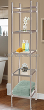 modern style ideal for bathroom, kitchen, office floorstanding 5 clear glass square shelf, free standing 5-tiers glass shelves