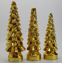 best-selling gold glitter glass christmas tree, Electroplate gold christmas Decoration