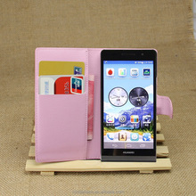 Christmas gift Retro Deluxe Leather Case for Ascend P6 Wallet Style with Card Holder Stand Design Phone Bag Cover