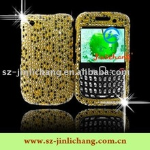 rhinestone cell phone cases for BB8520 with Gold leopard pattern