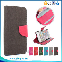 Newest hemp material pu leather flip cover case for Wiko rainbow jam 4G with photo frame and card slots