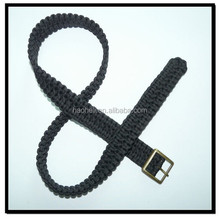 35mm wide black braided nylon belt with square buckle