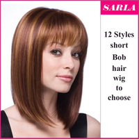Wholesale new 2016 synthetic short brown highlight two tone hair wigs