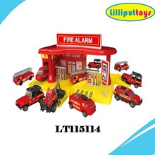 1:64 Alloy Fire station parking car models with 3 die cast cars