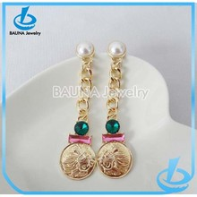Hot sale gold alloy jewelry type occasion pearl and crystal charm chain link earrings