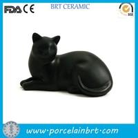 Pure black cat funeral urn