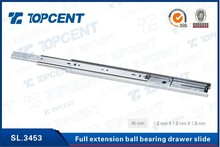 3 fold Cold-rolled steel drawer ball bearing drawer slide