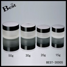 15/30/50g empty glass cosmetic jar, hot sale cream glass jar, frosted cosmetic jar with black plastic cap