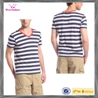 Sublimation Mens V Neck Collar Striped T Shirt