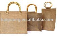 2014 promotion plain odd handle jute bag for shopping or wine