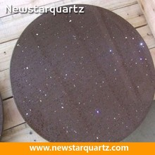 Composite round starlight brown quartz table top for coffee top