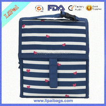 Design Stripes Heart Printed Polyester Insulated Lunch Bag Fabrics Insulated Cooler Bag