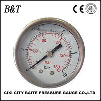 100mm 0-100psi/0-700kpa stainless steel glycerine or silicone oil filled pressure gauge