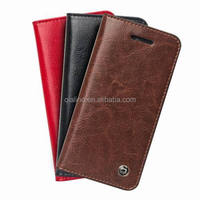 2015 QIALINO High quality hot sale genuine leather flip wallet mobile phone cover case for iphone 5