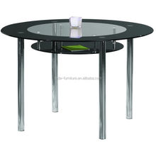 round double layer tempered glass dining table