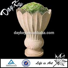 Garden decoration hand carved stone flower pot for sale