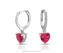 925 Sterling Silver Ruby CZ Heart Huggie Hoop Earrings wholesale