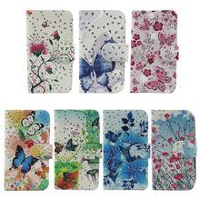 butterfluy flower wallet leather flip case cover credit cards slots for alcatel pop c2