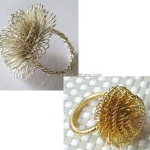 Wholesale Napkin rings Gold Flower floral Metal Hotel Home table Weddings Decorative napkin ring Napkin holder