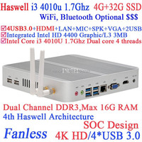 Haswell Architecture I3 4010u fanless pc with Intel Core i3 4010U 1.7Ghz SOC design 4K HD support 4G RAM 32G SSD windows linux