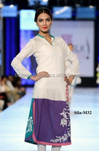 full sleeves white and purple shirt with tites party dress BE-M32