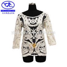 coreano elegante encaje tops blusas para las mujeres de encaje blanco