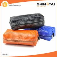 square zipper soft pu leather eyeglasses bag
