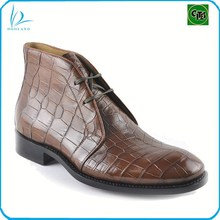 Luxury exotic fashion leather shoes, genuine crocodile leather mens boots, shoes short boots