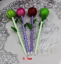 2015 wholesale cute novelty design lollopop shape cartoon fruit ball pen