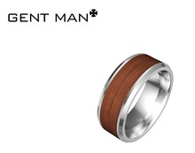 Men's ring Stainless Steel high polished Fashion wood inlay ring CMSTR-2014-241-1
