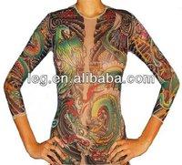 Womans Geisha Dragon Skin Long Sleeve Full Body Tattoo T-Shirt