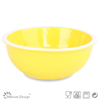 Assorted colorful bowl with white rim ceramic bowl