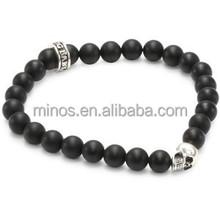 Baby 8mm Men's Black Onyx Bead Bracelet with Skull Bead for Wholesale