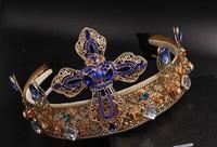 NEW Classic Europian baroque style metal rhinestone crystal pearl headband fancy hair accessories Vintage hair jewelry