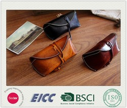 Alibaba Supplier BSCI certification hotselling leather sunglass case handmade pouch leather sunglass case