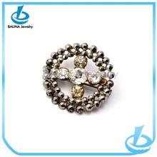 Hot sale rhinestone bead pave round wholesale cross brooch