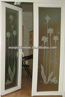 wanjia upvc/plastic decorative bathroom doors