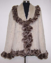 YR724 Factory Sale Rabbit Fur and Rex Rabbit FurJacket women