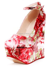 2015 Citi trends high heel shoes for women Ankle strap fashion lady dress shoes Fashion flowered shoes for women