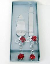 2015 red rose wedding decorative cake knife server wedding party cake knife serving set crystal cake server cake decoration