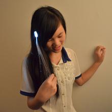 Hot sale decoration glowing flash braid light up hair fiber hair braid led glowing hair braid