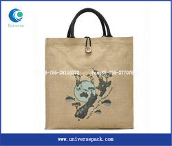 personalized promotional nature jute shopping tote bag