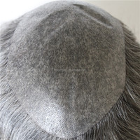 Super thin skin toupee add grey hair 5*9 7-8inch invisible knot men toupee